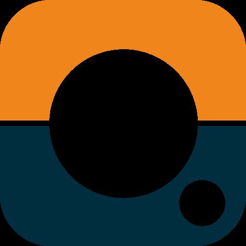 镂空圆角方形艺术摄影相机logo图标素材