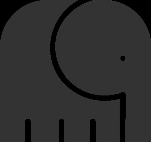 简约抽象动物大象矢量图标素材