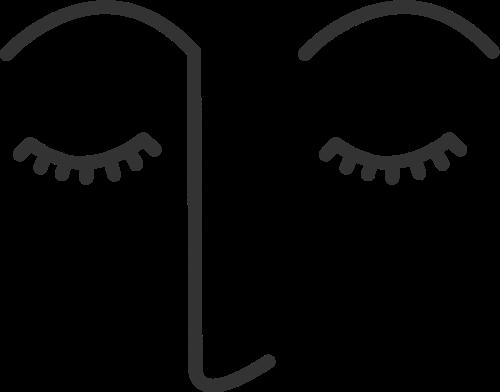 简约抽象线条人脸矢量图标素材