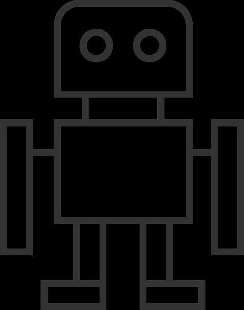简笔线条机器人矢量图标素材