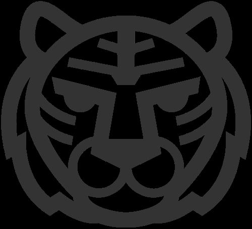 简约线条呆萌动物老虎头矢量图标素材矢量logo
