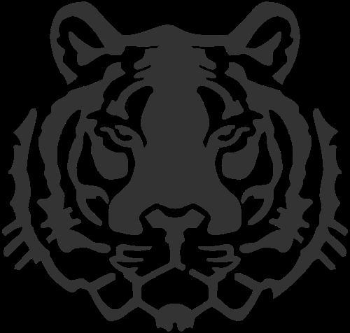 几何抽象拼接动物凶狠老虎脸矢量图标素材矢量logo