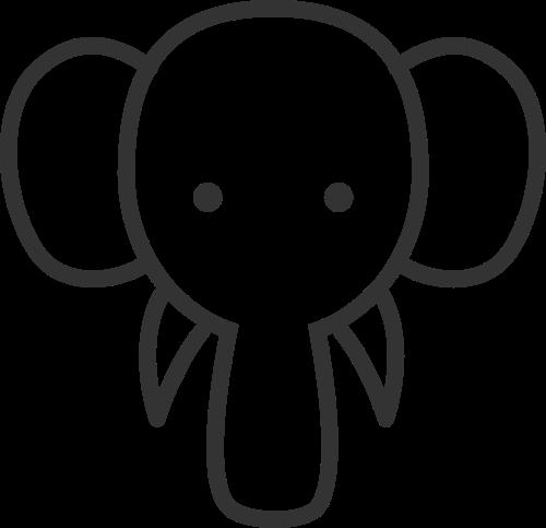 可爱卡通动物小象头矢量图标素材