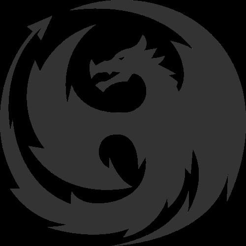 抽象圆形拼接动物飞龙矢量图标素材