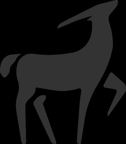 几何抽象拼接动物鹿矢量图标素材