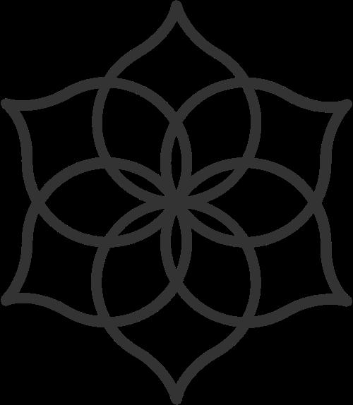简约线条瑜伽运动冥想花朵矢量图标素材