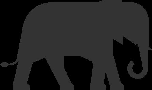 黑色剪影动物大象矢量图标素材