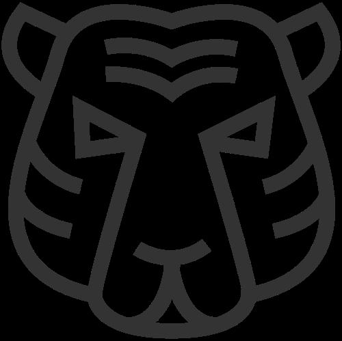 简约线条动物老虎脸矢量图标素材