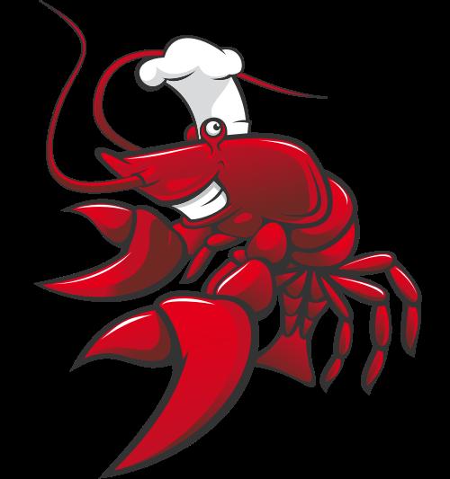 卡通立体带厨师帽子小龙虾矢量图形