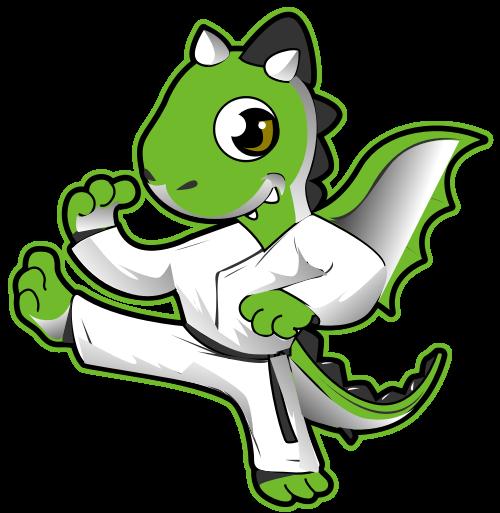 卡通恐龙武术跆拳道吉祥物logo矢量图形