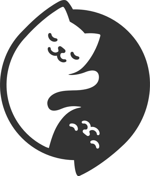 圆形拼接两只小猫矢量图形