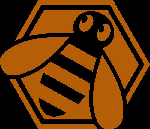 六边形黄色小蜜蜂矢量图形矢量logo