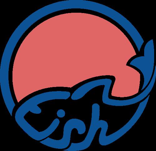 圆形fish英文抽象鱼矢量图形