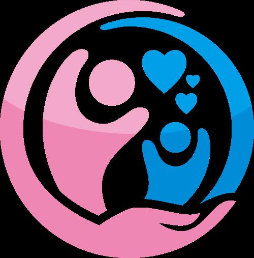 粉色蓝色母婴呵护爱心矢量图标素材