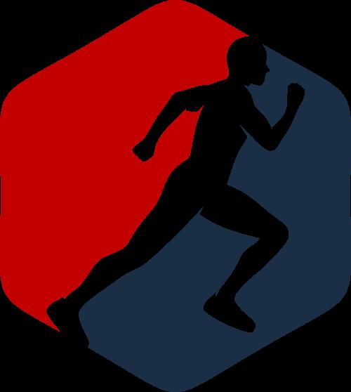 六边形运动跑步矢量图形