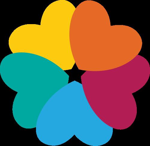 彩色爱心花瓣星星logo图标素材