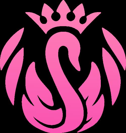 粉色渐变皇冠天鹅矢量logo