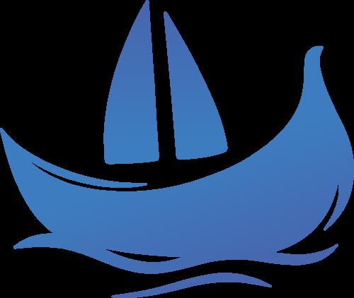 蓝色渐变水上帆船矢量logo