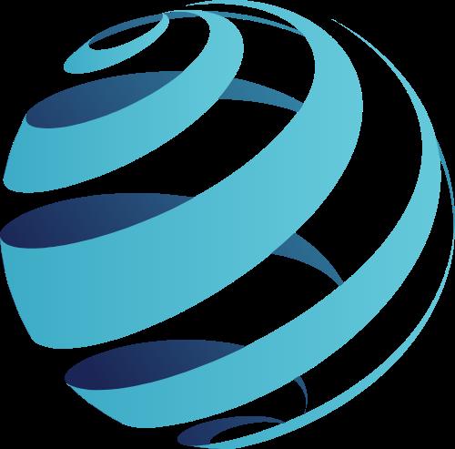 蓝色渐变旋转地球矢量logo