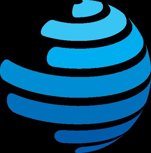 蓝色渐变曲面球形矢量logo