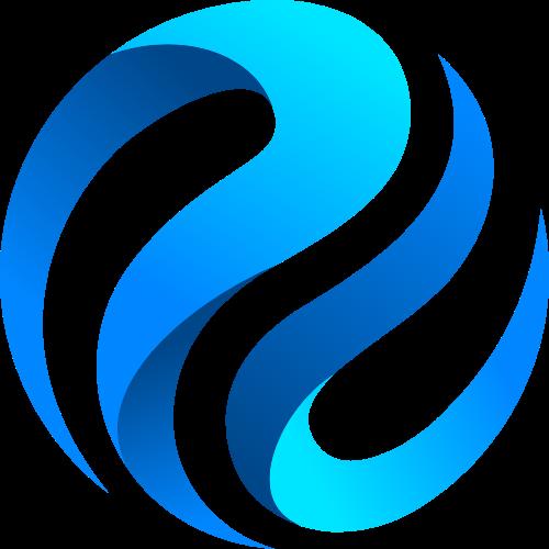 蓝色渐变空间球形矢量logo