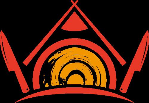 卡通餐具房屋矢量logo