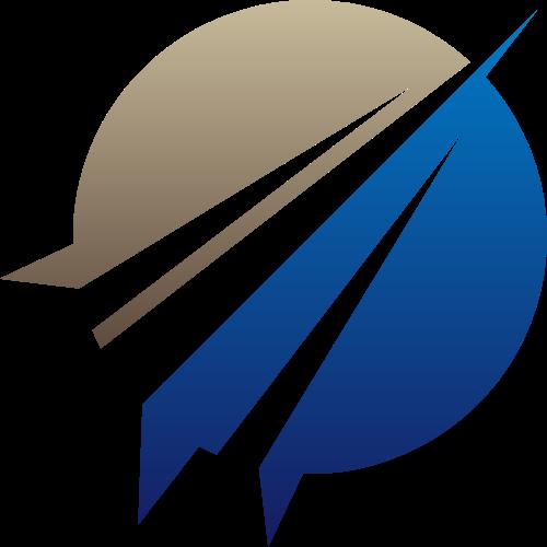 蓝灰圆形尖锐矢量logo