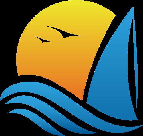 夕阳帆船旅游矢量logo