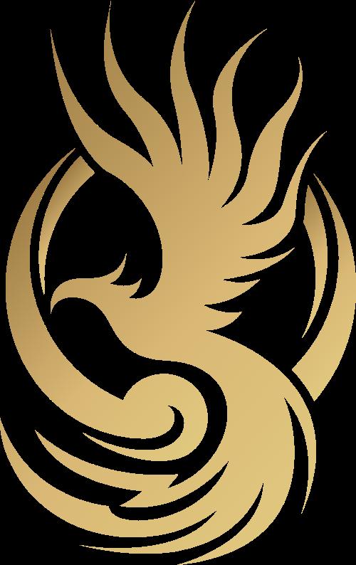 金色渐变凤凰矢量logo