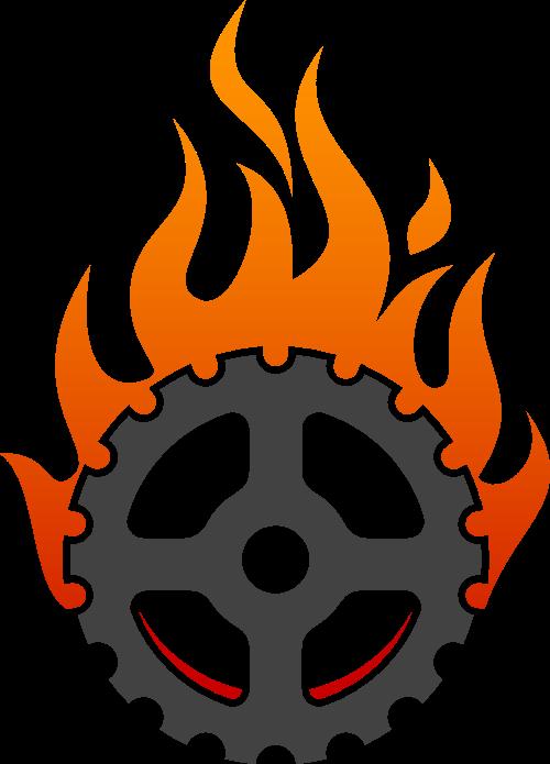 火焰齿轮创意设计矢量图形