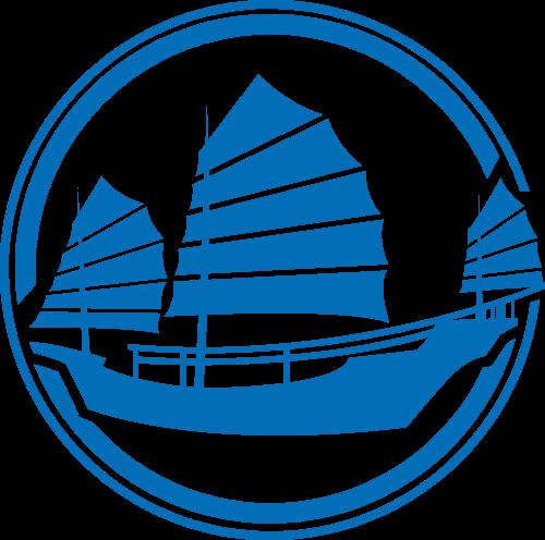 蓝色圆形帆船矢量logo