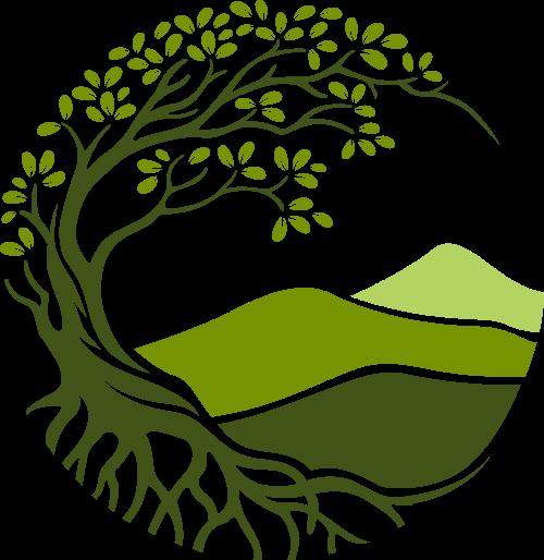圆形树木山川矢量logo