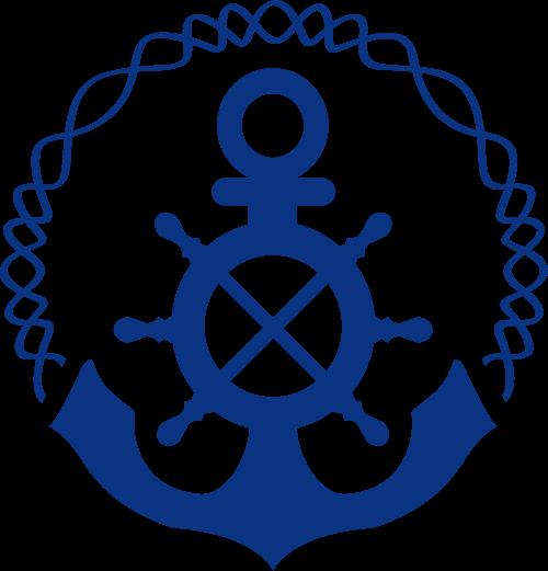 船锚船舵矢量logo结合