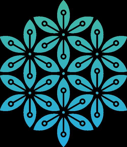 蓝色渐变花朵矢量logo