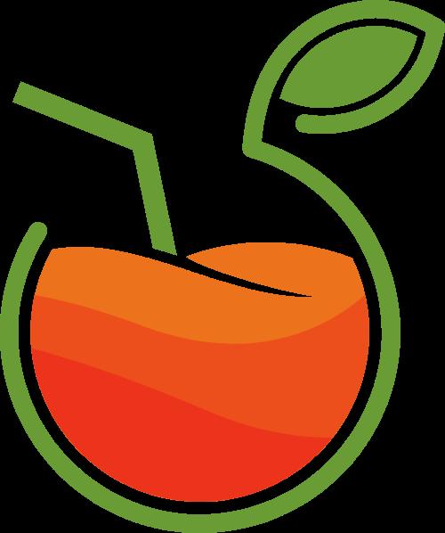 苹果创意果汁矢量logo