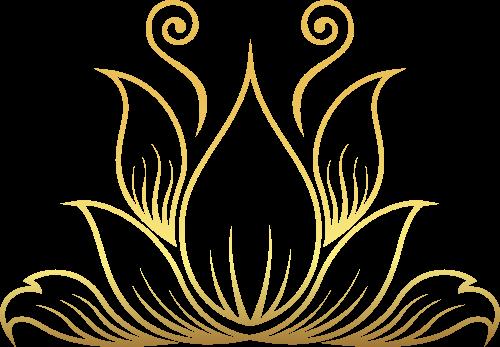 金色荷花矢量logo