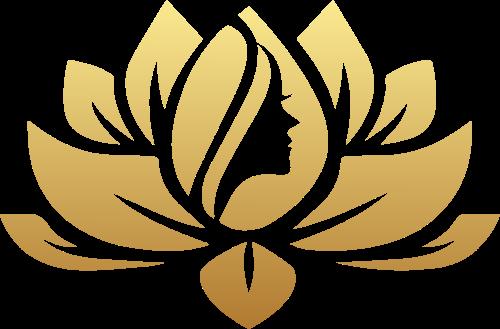 金色渐变莲花女性头像矢量logo