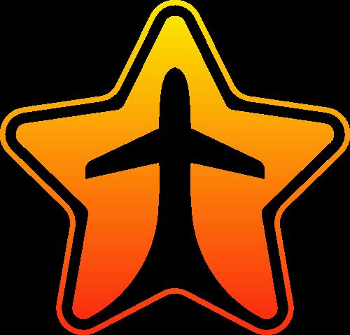 橙色渐变五角星飞机矢量图形logo