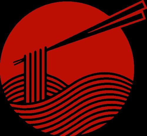 红色筷子夹面条矢量图形