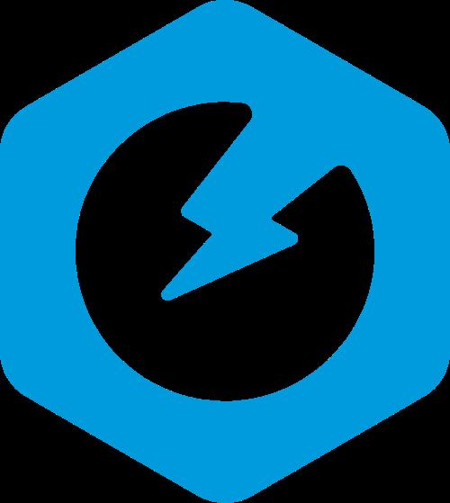 蓝色科技五边形闪电矢量图形