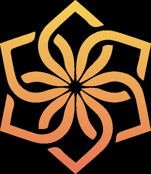 橙色花卉矢量图形