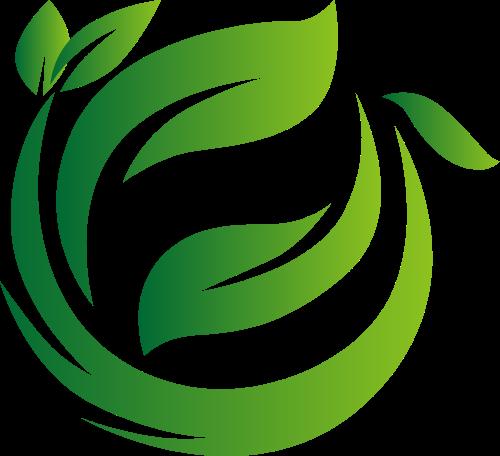 绿色树叶飞舞矢量图形