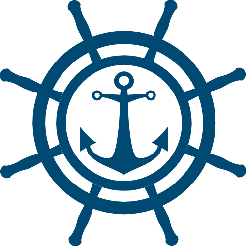 船舵船锚结合矢量logo