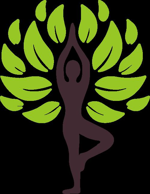 瑜伽人物树叶矢量图形