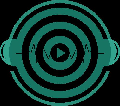 绿色唱片耳机矢量图形