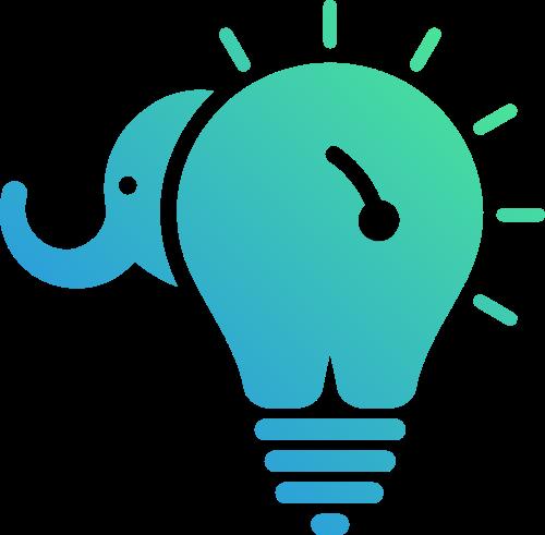 创意灯泡大象矢量图形