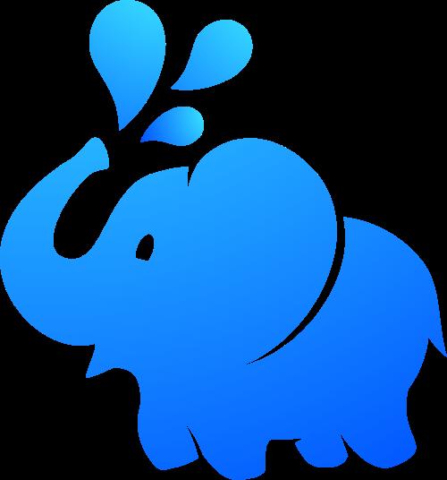 卡通蓝色小象喷水矢量图形