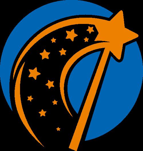 圆形星星魔法棒矢量logo