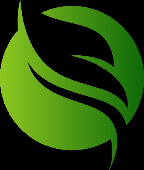 绿色圆形树叶矢量图形