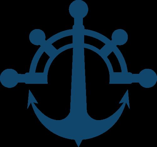 船锚船舵结合矢量logo